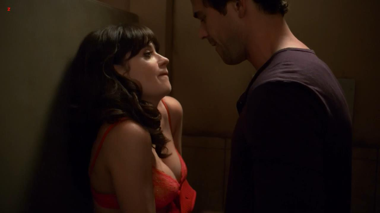 Zooey Deschanel sexy and funny in red bra - New Girl s2e2 hd720p